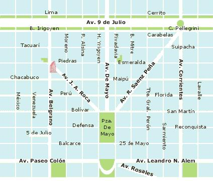 Downtown Map, Buenos Aires, Argentina