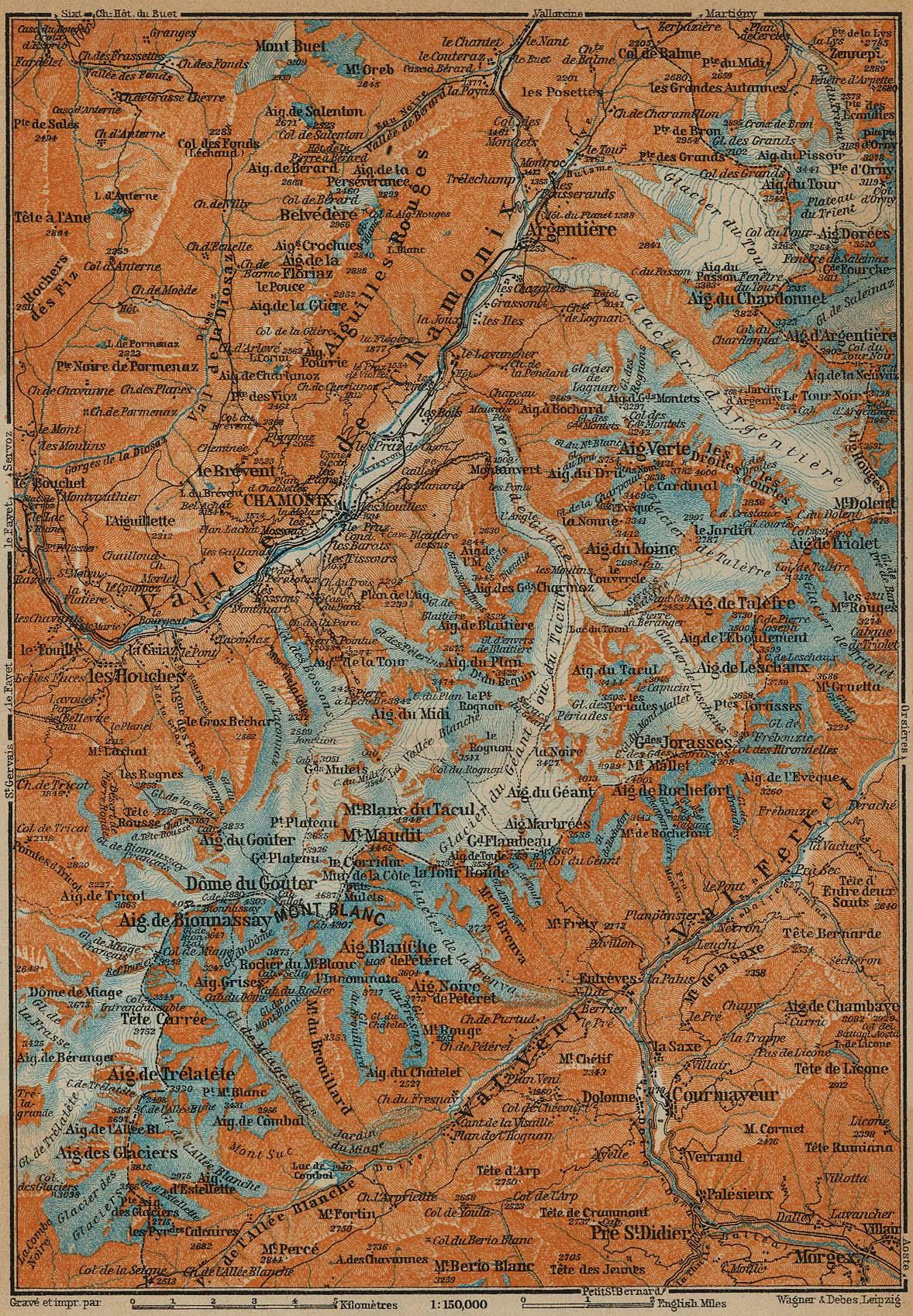 Mapa del Mont-Blanc, Francia - Italia 1914
