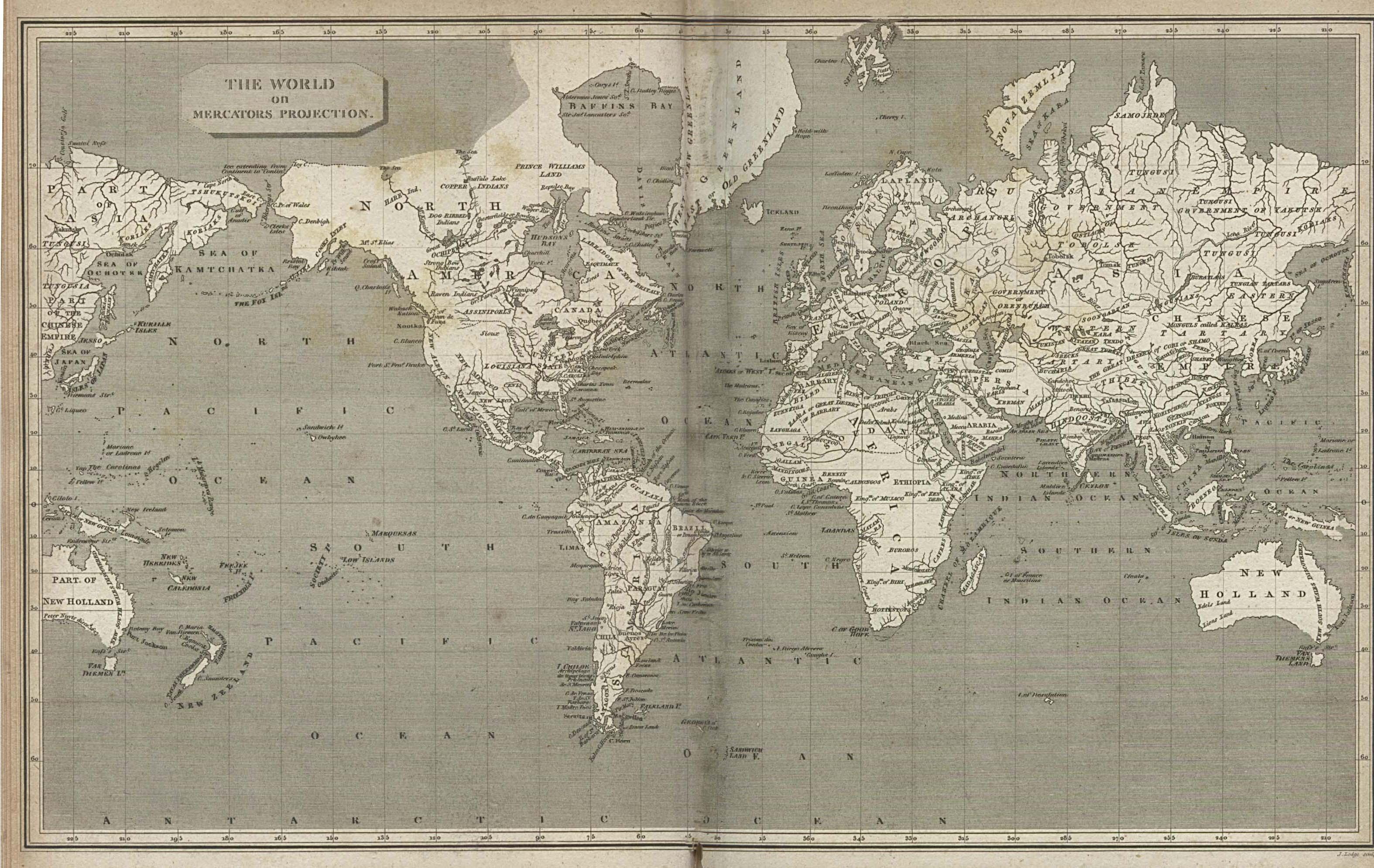 Mapa del Mundo con Proyección de Mercator 1820