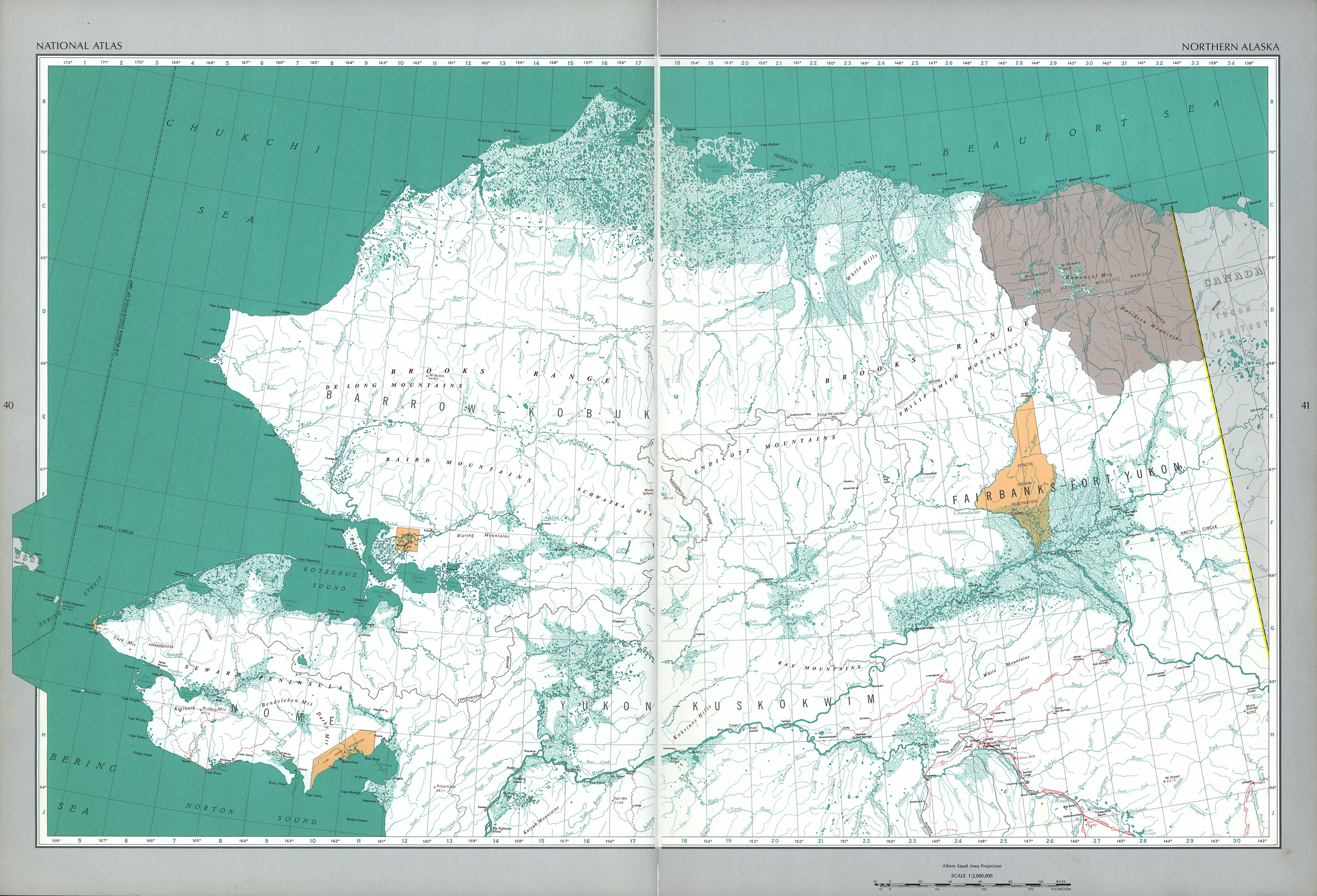 Mapa del Norte Alaska, Estados Unidos
