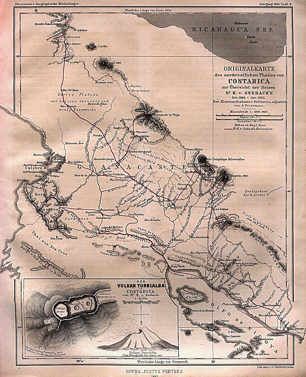 Mapa del Norte-Occidente de Costa Rica 1865