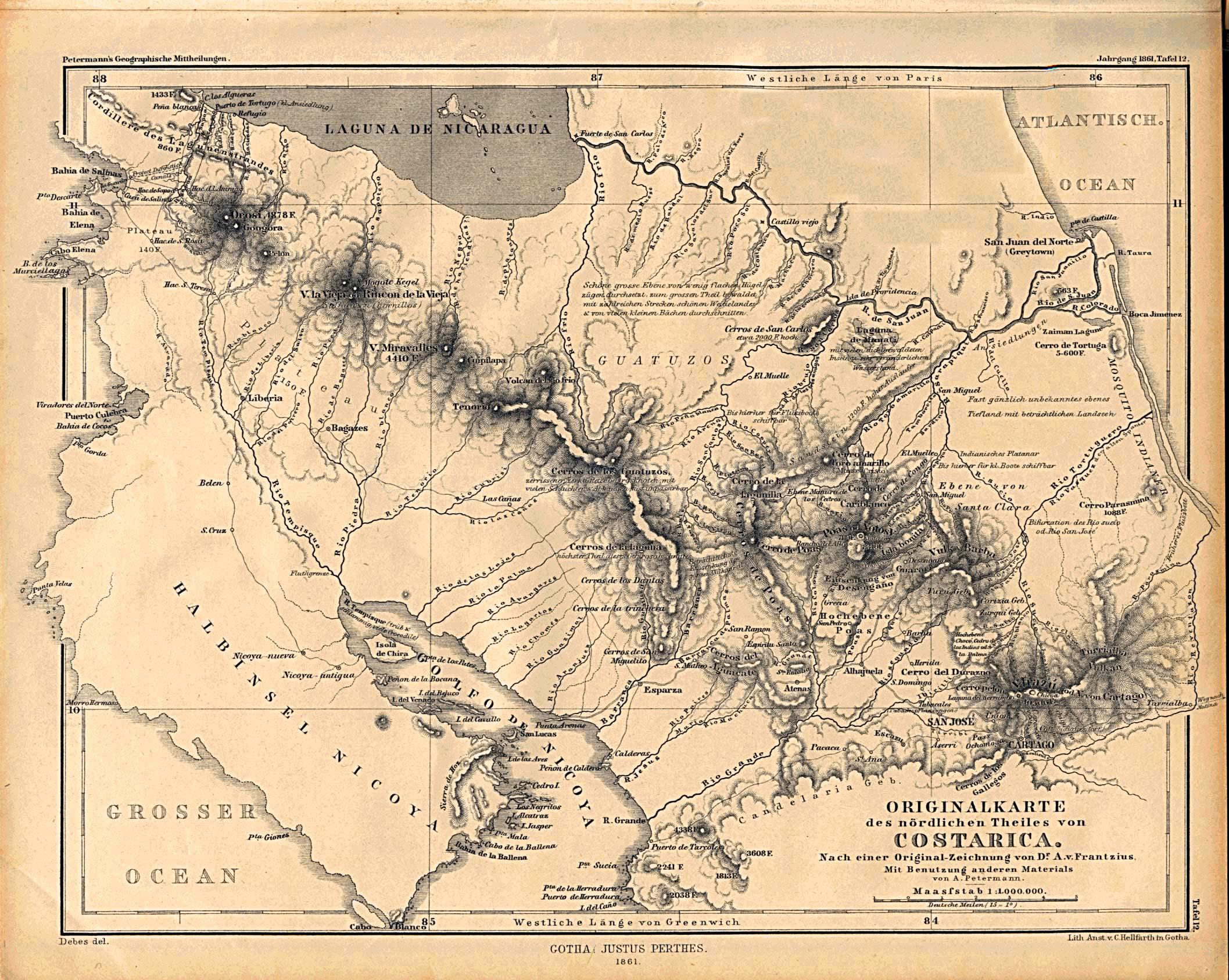 Mapa del Norte de Costa Rica 1861