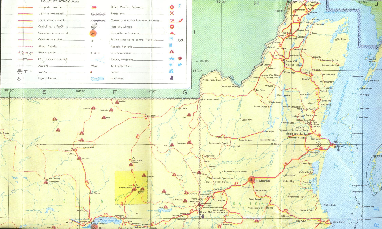 Mapa del Norte de Guatemala, incluyendo el Norte de Belice