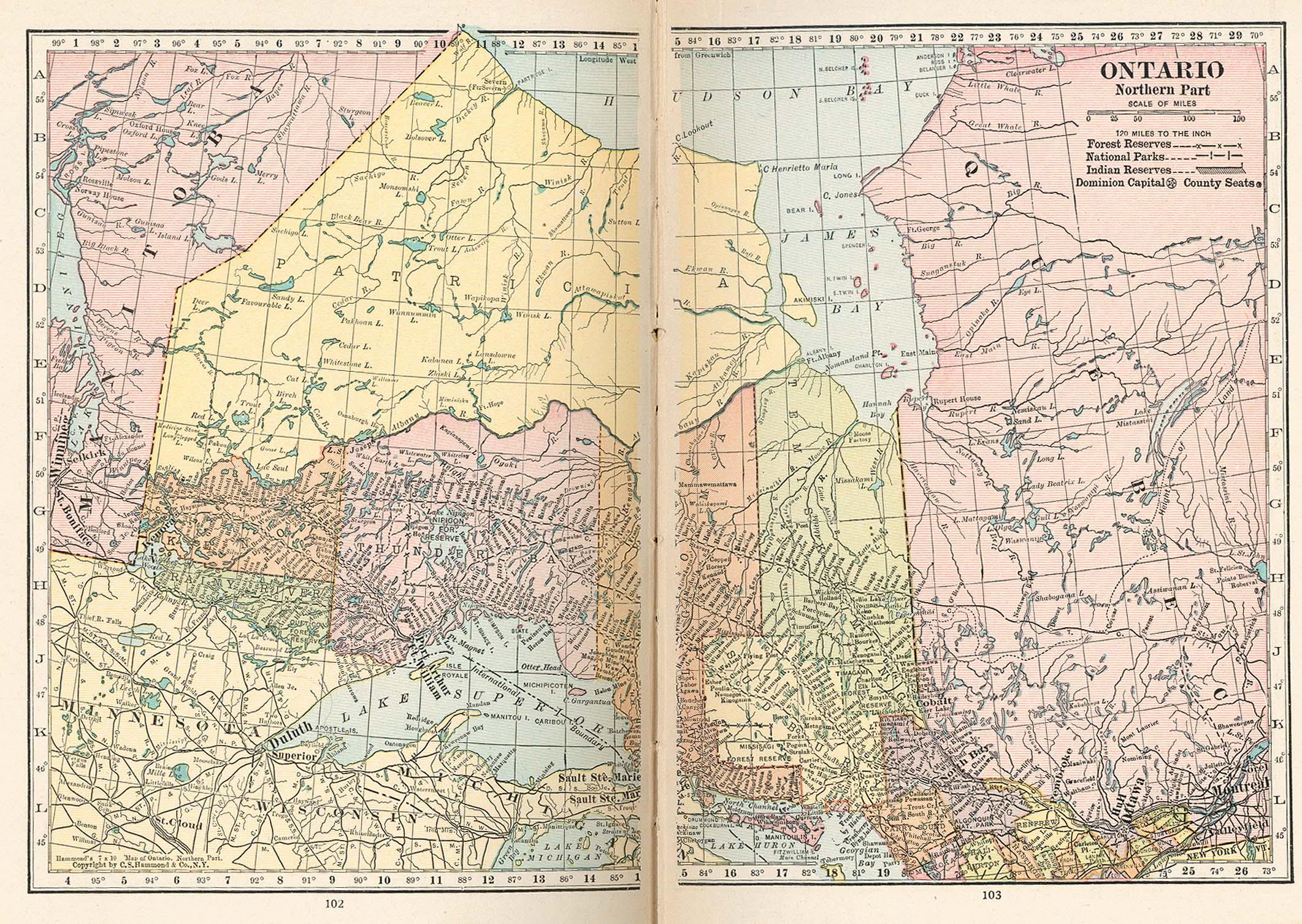 Northern Ontario Map, Canada 1921