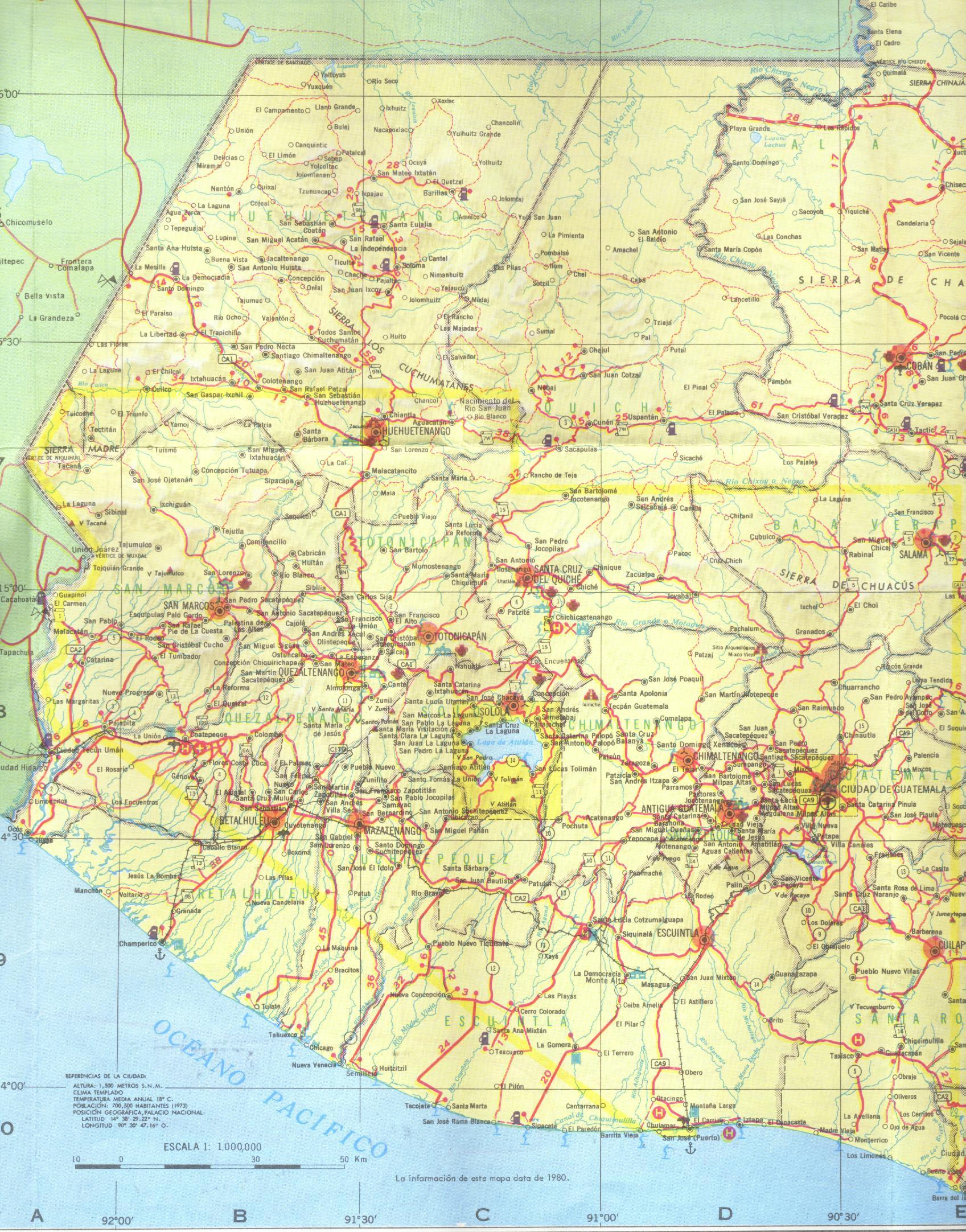 Mapa del Oeste de Guatemala