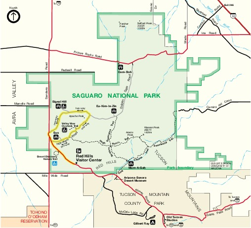 Map Of Arizona With National Parks.Maps Of Western Saguaro National Park Map Tucson Mountain District