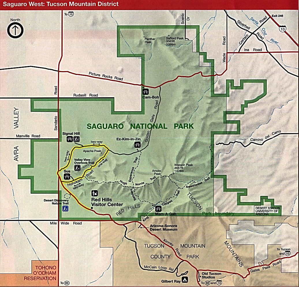 Mapa del Oeste del Parque Nacional Saguaro, Distrito Tucson Mountain, Arizona, Estados Unidos