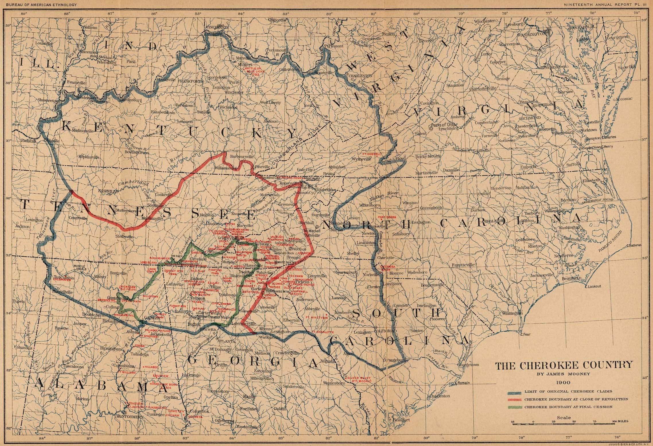 Mapa del País Cherokee 1897 -  98