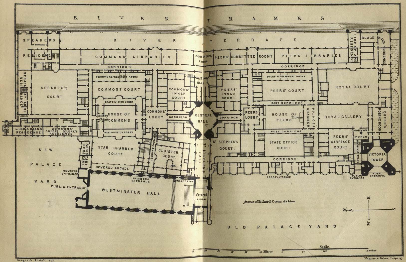 Mapa del Palacio de Westminster, Londres  1894