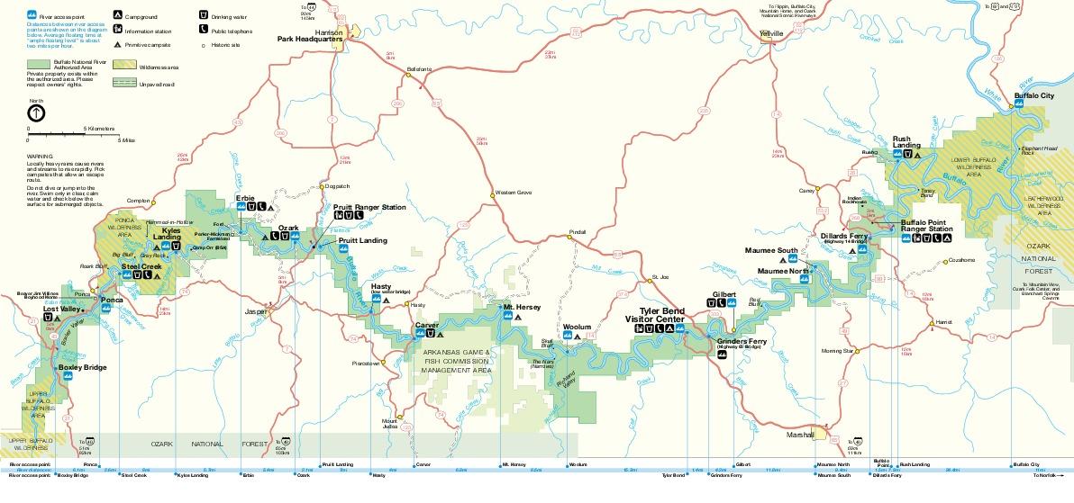 Mapa del Parque Buffalo Río Nacional, Arkansas, Estados Unidos