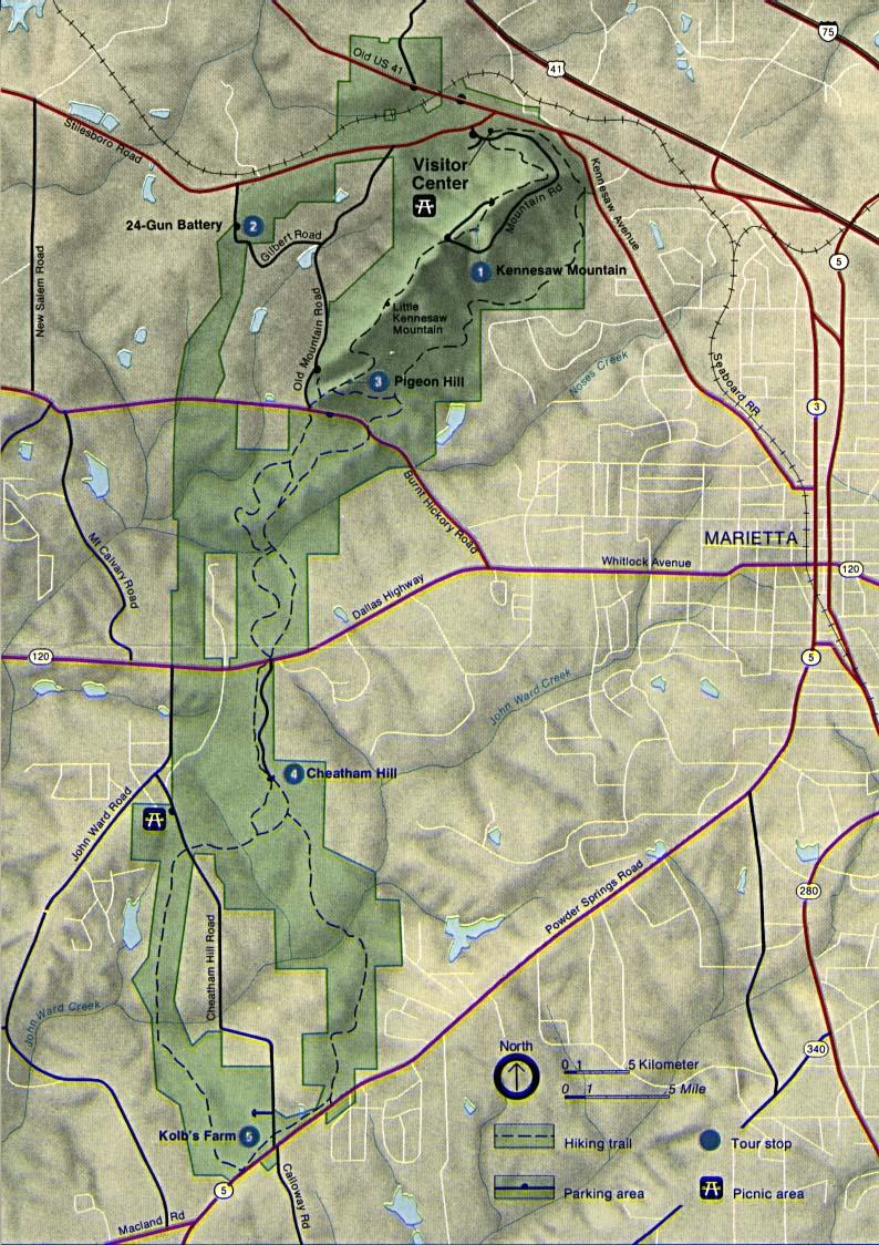 Mapa del Parque Campo de Batalla Nacional Kennesaw Mountain, Georgia, Estados Unidos