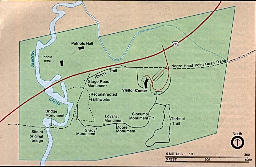Mapa del Parque Campo de Batalla Nacional Moores Creek, Carolina del Norte, Estados Unidos