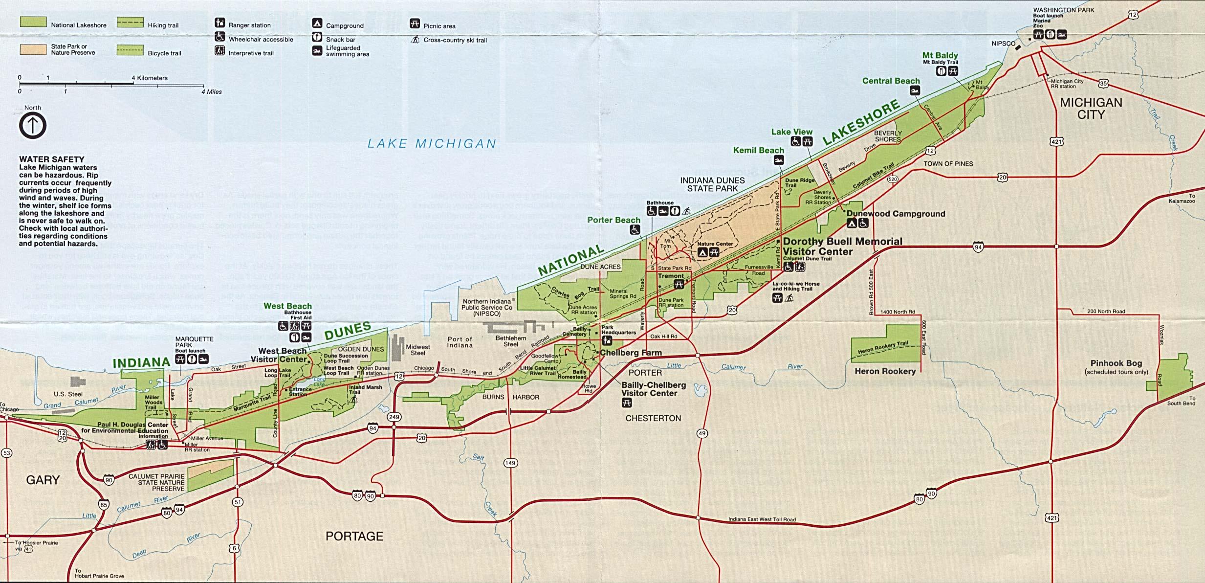 Indiana Dunes National Lakeshore Park Map, Indiana, United States
