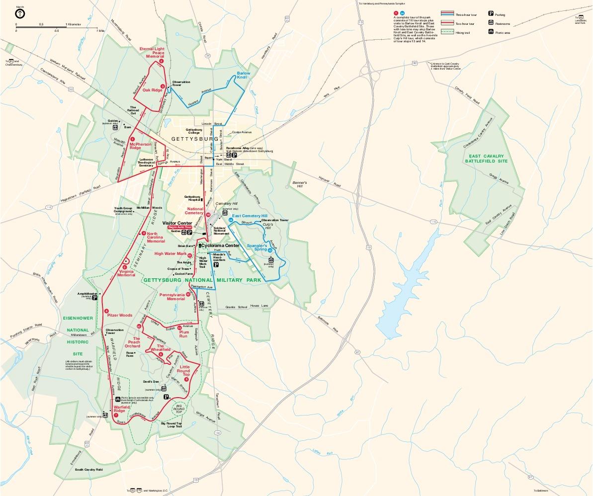 Gettysburg National Military Park Map, Pennsylvania, United States