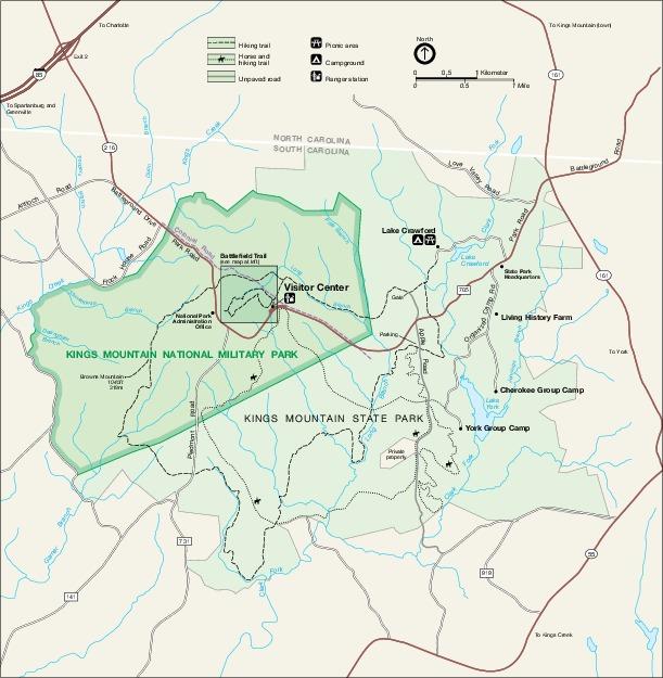 Mapa del Parque Militar Nacional de Kings Mountain, Carolina del Norte, Estados Unidos