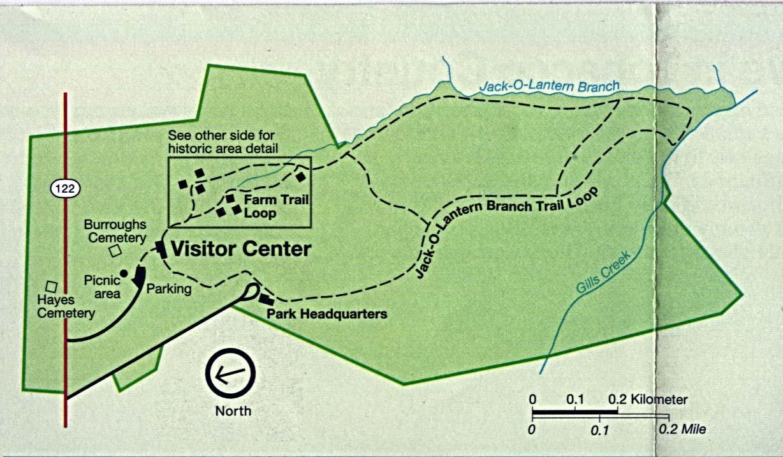 Mapa del Parque Monumento Nacional Booker T. Washington, Virginia, Estados Unidos