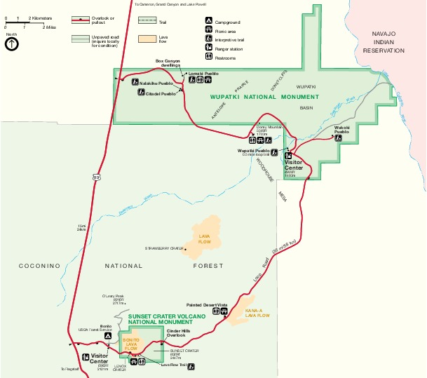 Park Map of Wupatki National Monument, Arizona, United States