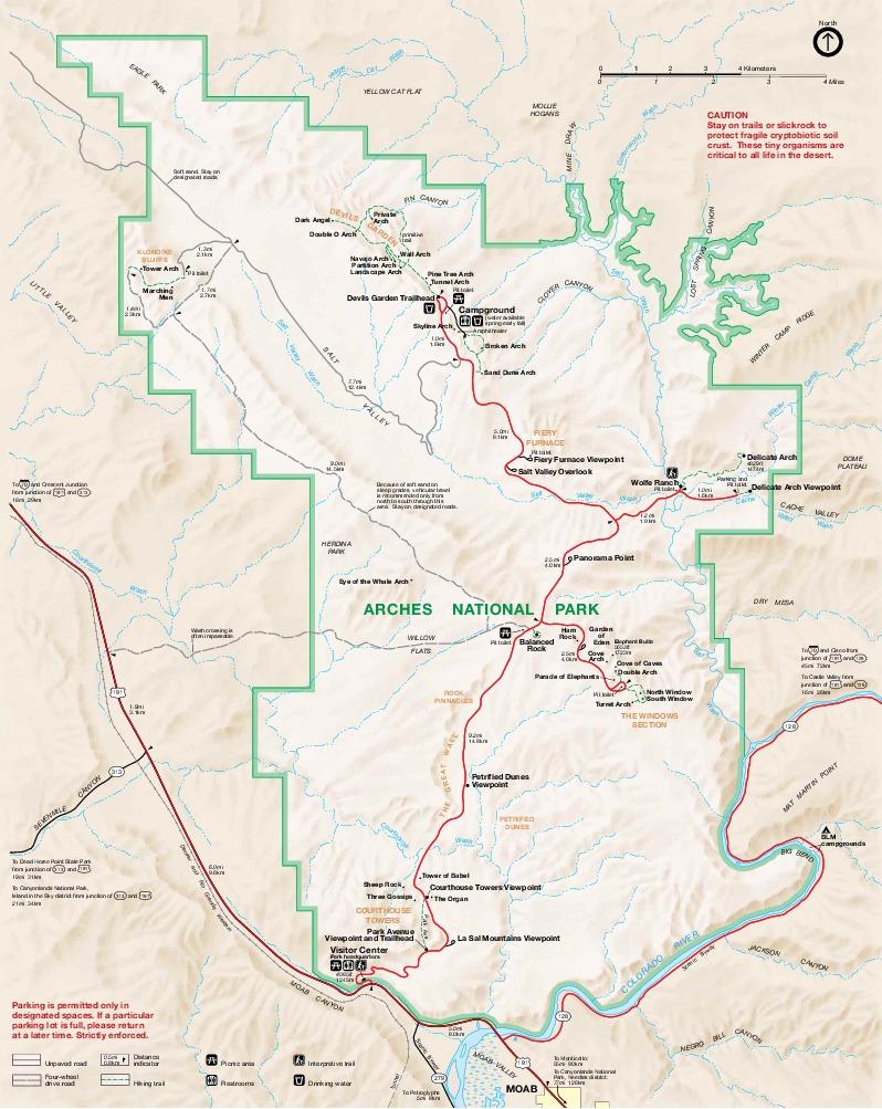 Mapa del Parque Nacional Arches, Utah, Estados Unidos