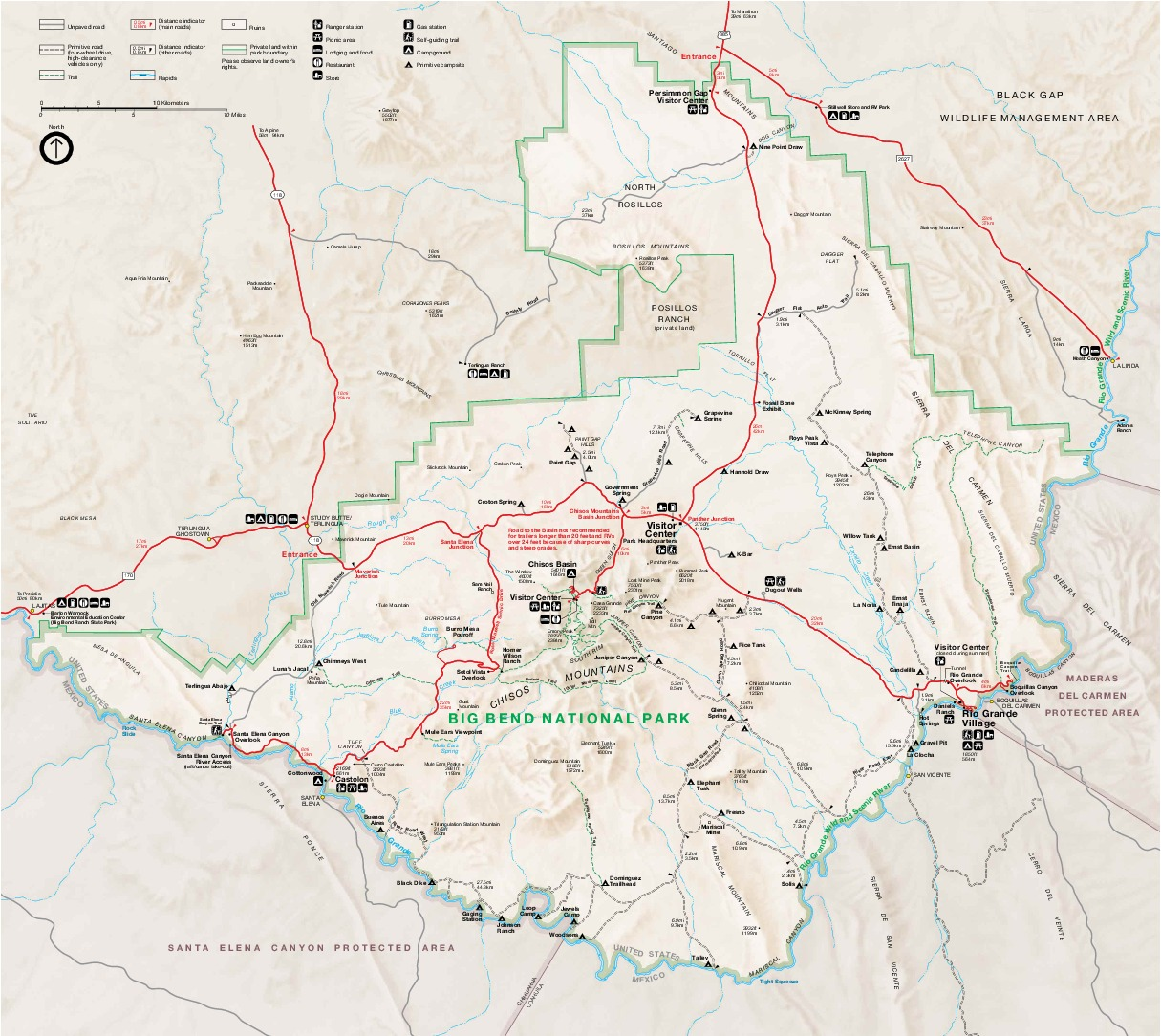 Big Bend National Park Map, Texas, United States