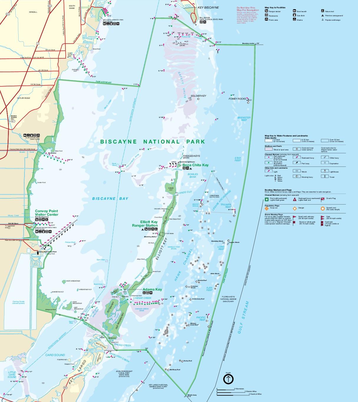 Biscayne National Park Map, Florida, United States