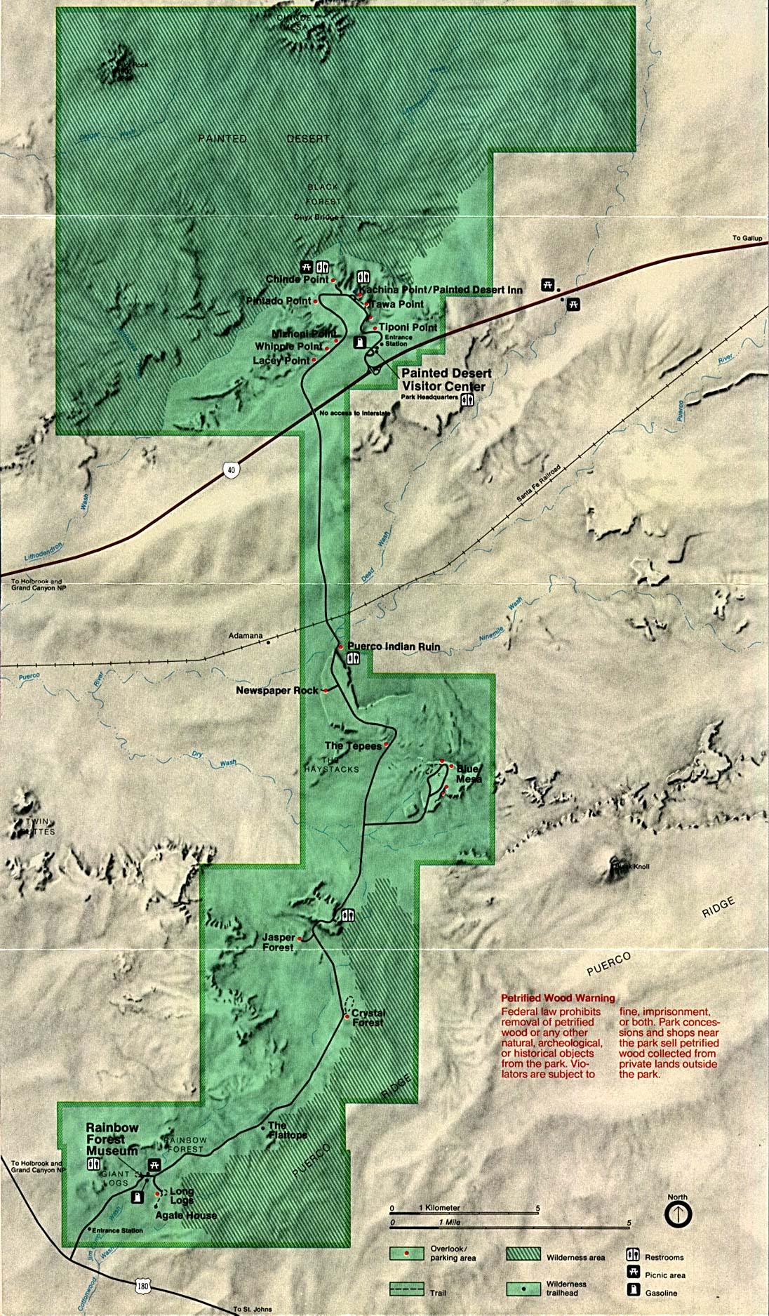 Petrified Forest National Park Map, Arizona, United States