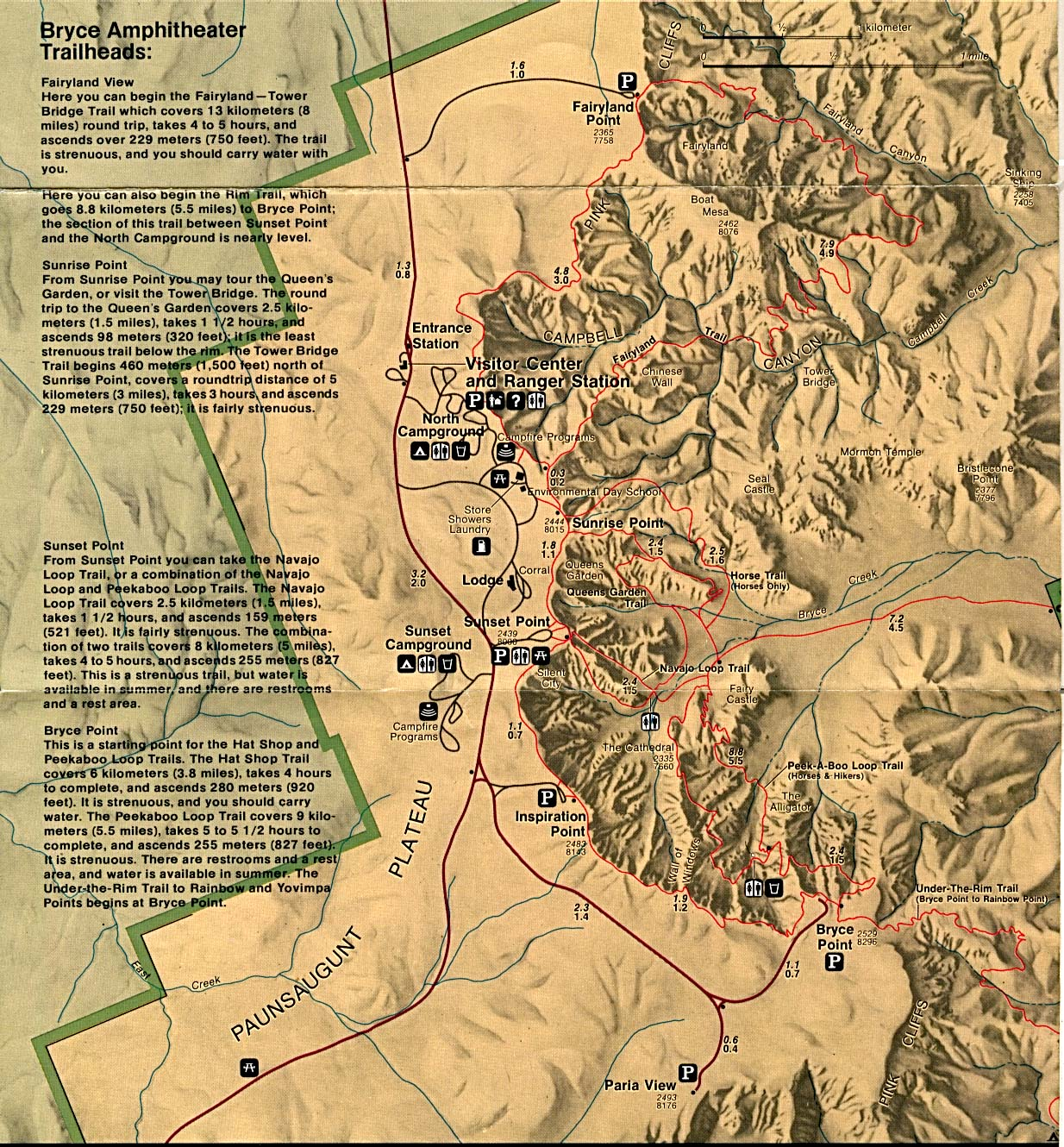 Bryce Canyon National Park Map, Utah, United States