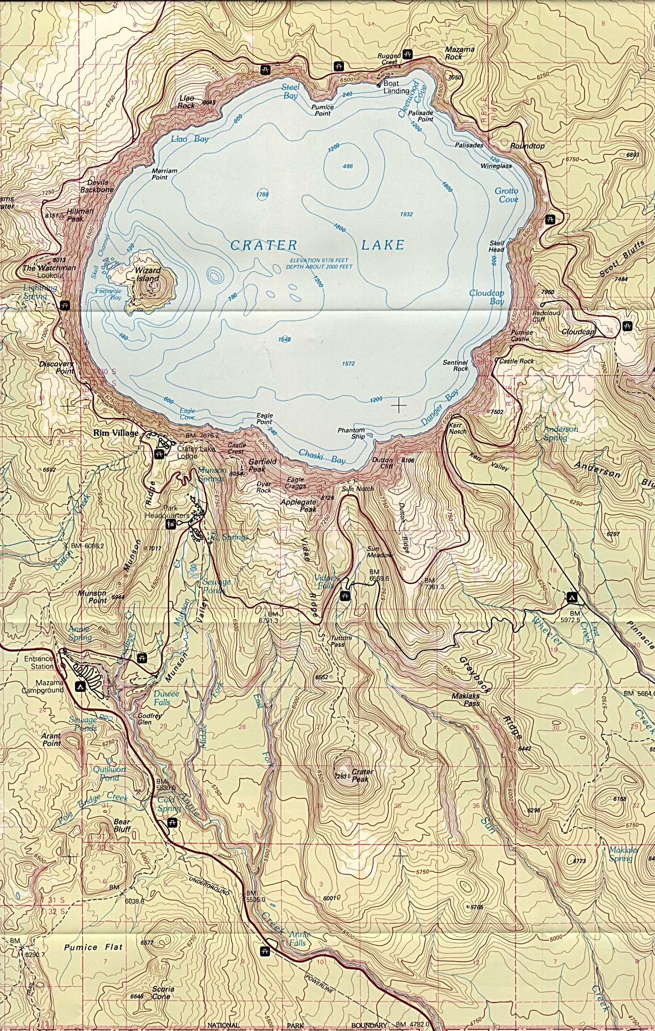 Mapa del Parque Nacional Crater Lake, Oregón, Estados Unidos