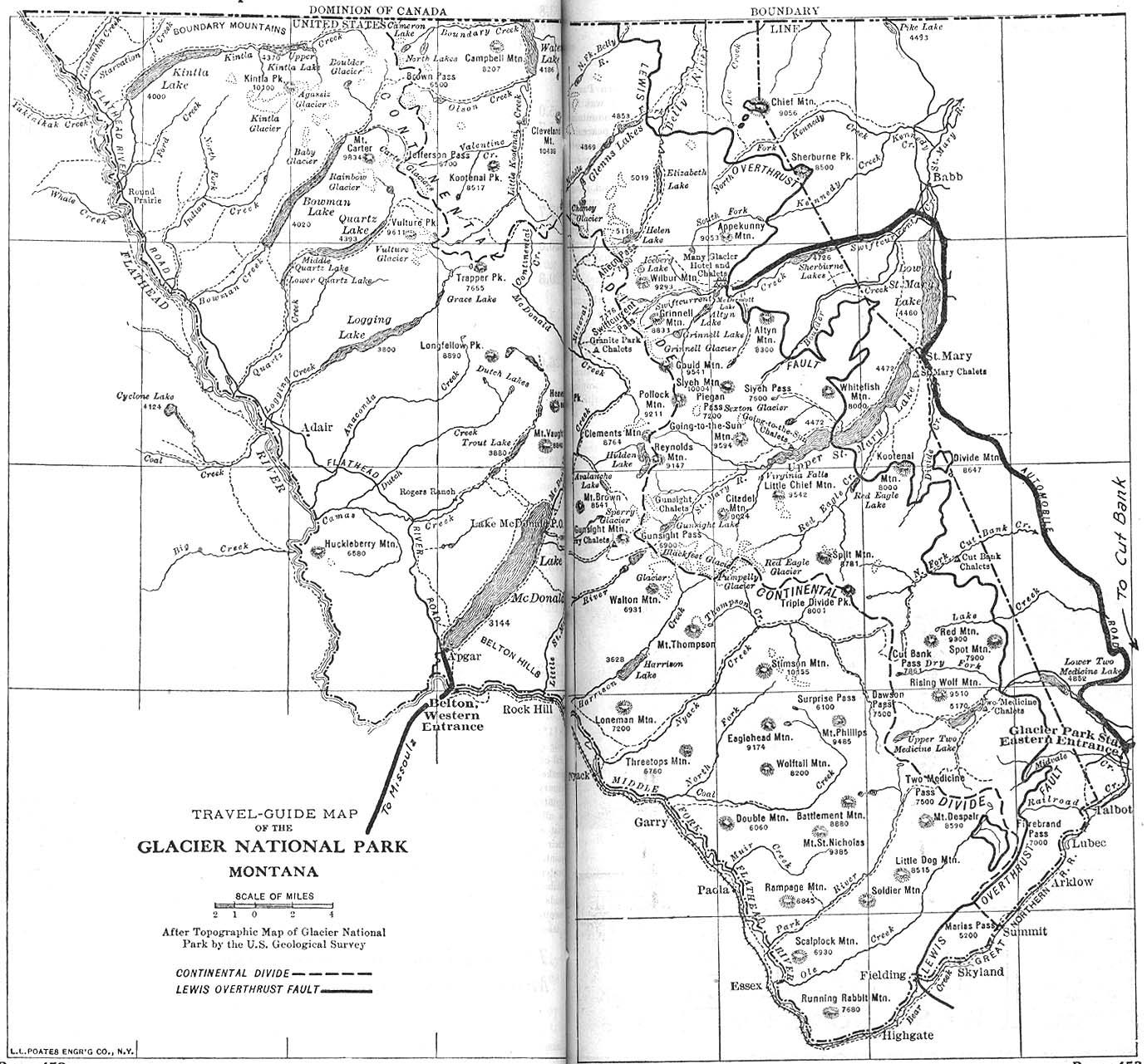 Mapa del Parque Nacional Glacier, Montana, Estados Unidos 1917
