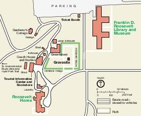 Mapa del Parque Nacional Histórico Franklin D. Roosevelt, Nueva York, Estados Unidos