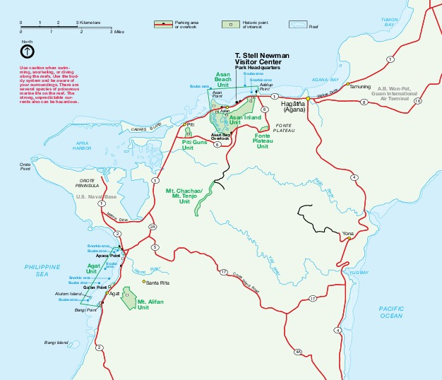 Mapa del Parque Nacional Histórico Guerra del Pacífico, Guam