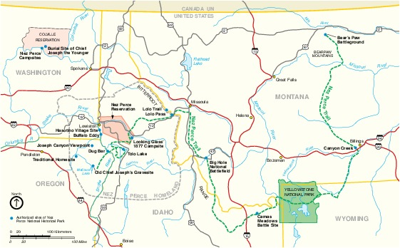 Mapa del Parque Nacional Histórico Nez Perce, Idaho, Oregón, Washington, Montana, Estados Unidos