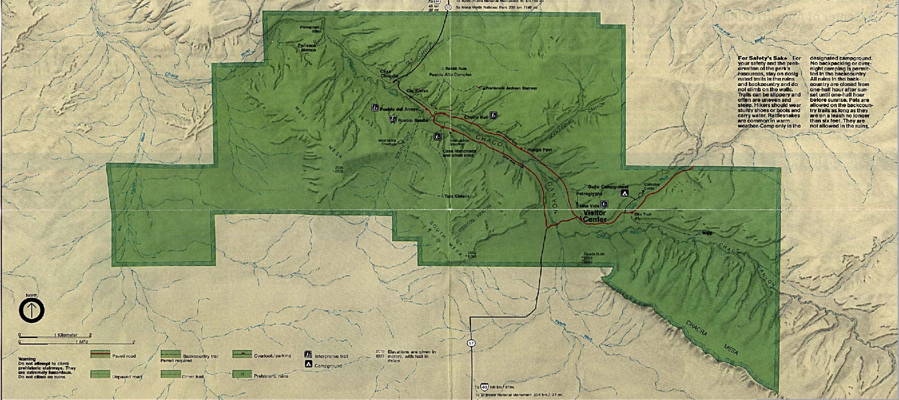 Chaco Culture National Historic Park Map, New Mexico, United States