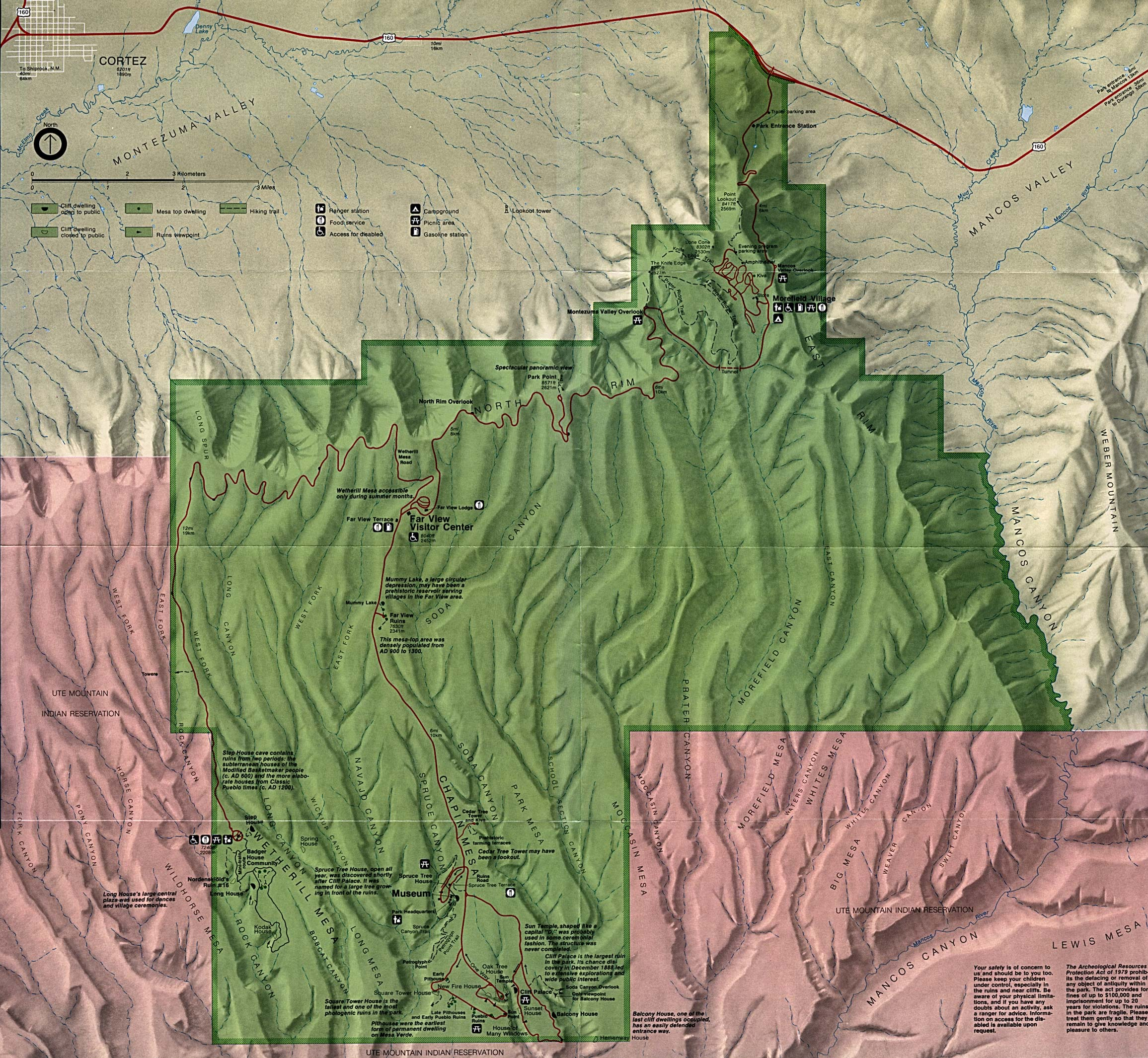 Mapa del Parque Nacional Mesa Verde, Colorado, Estados Unidos