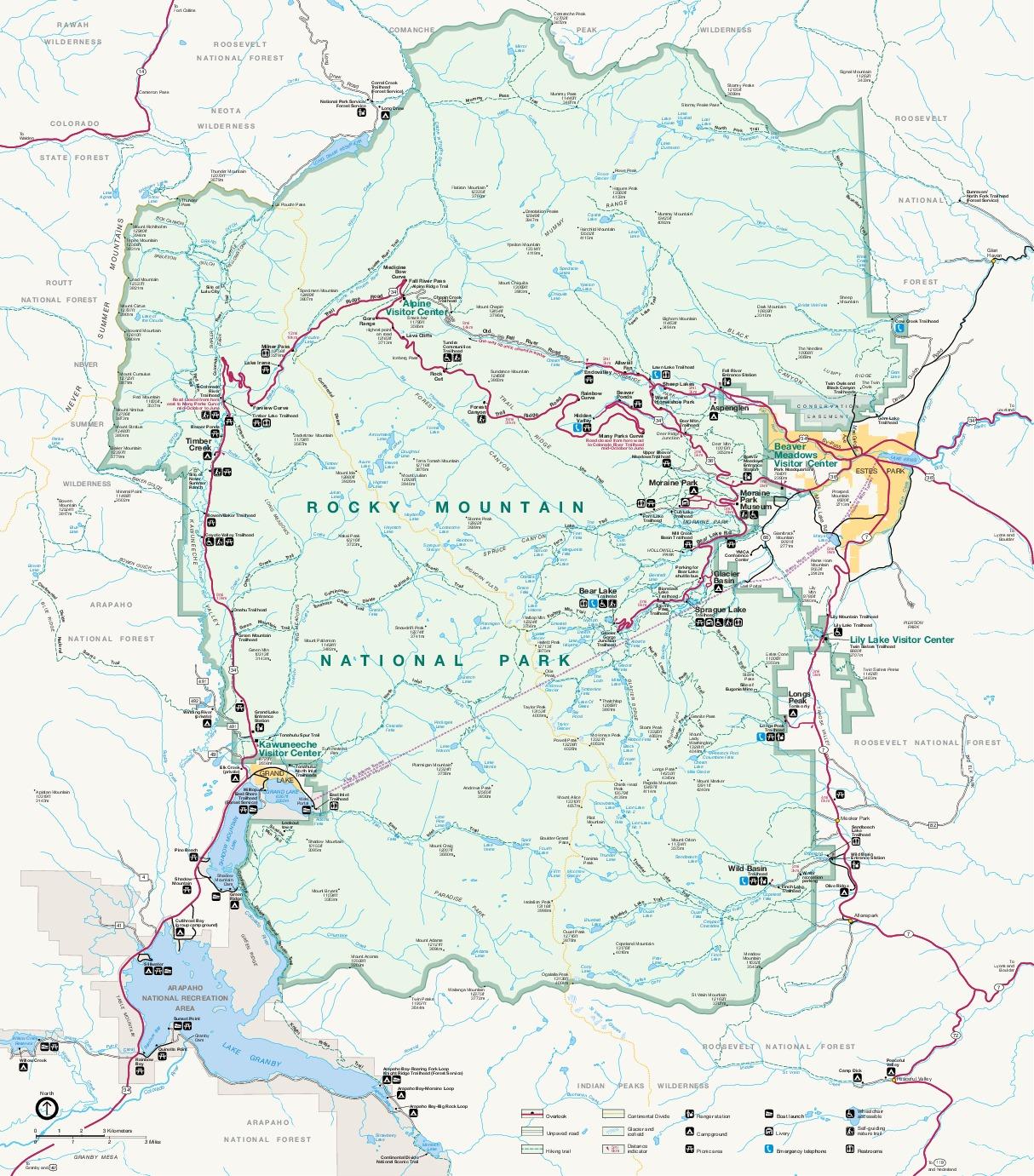 Mapa del Parque Nacional Montañas Rocosas, Colorado, Estados Unidos