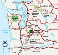 Mapa del Parque Nacional Monte Rainier, Washington, Estados Unidos