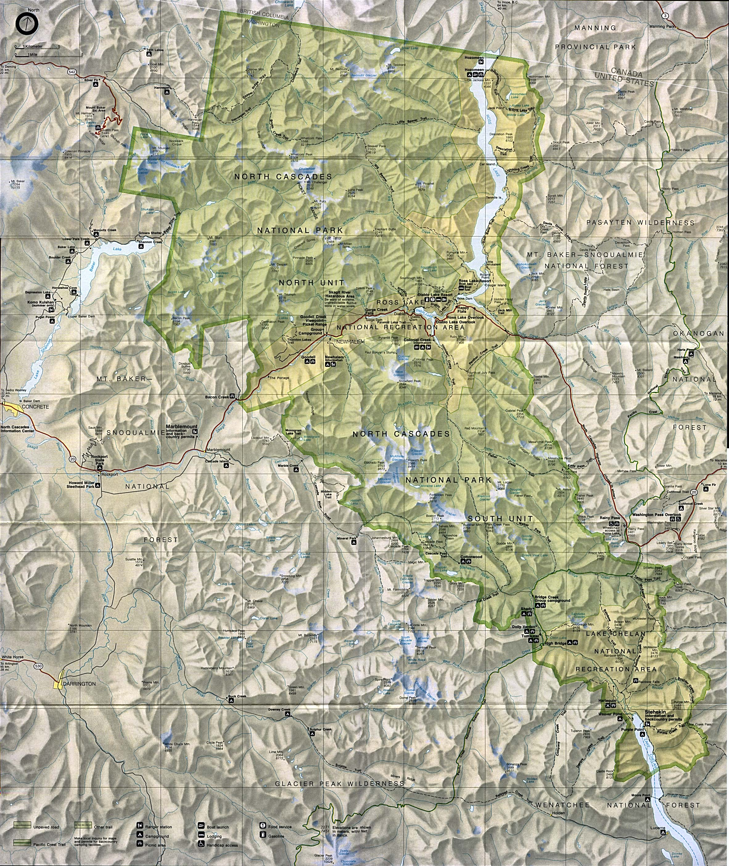 Mapa del Parque Nacional North Cascades, Washington, Estados Unidos