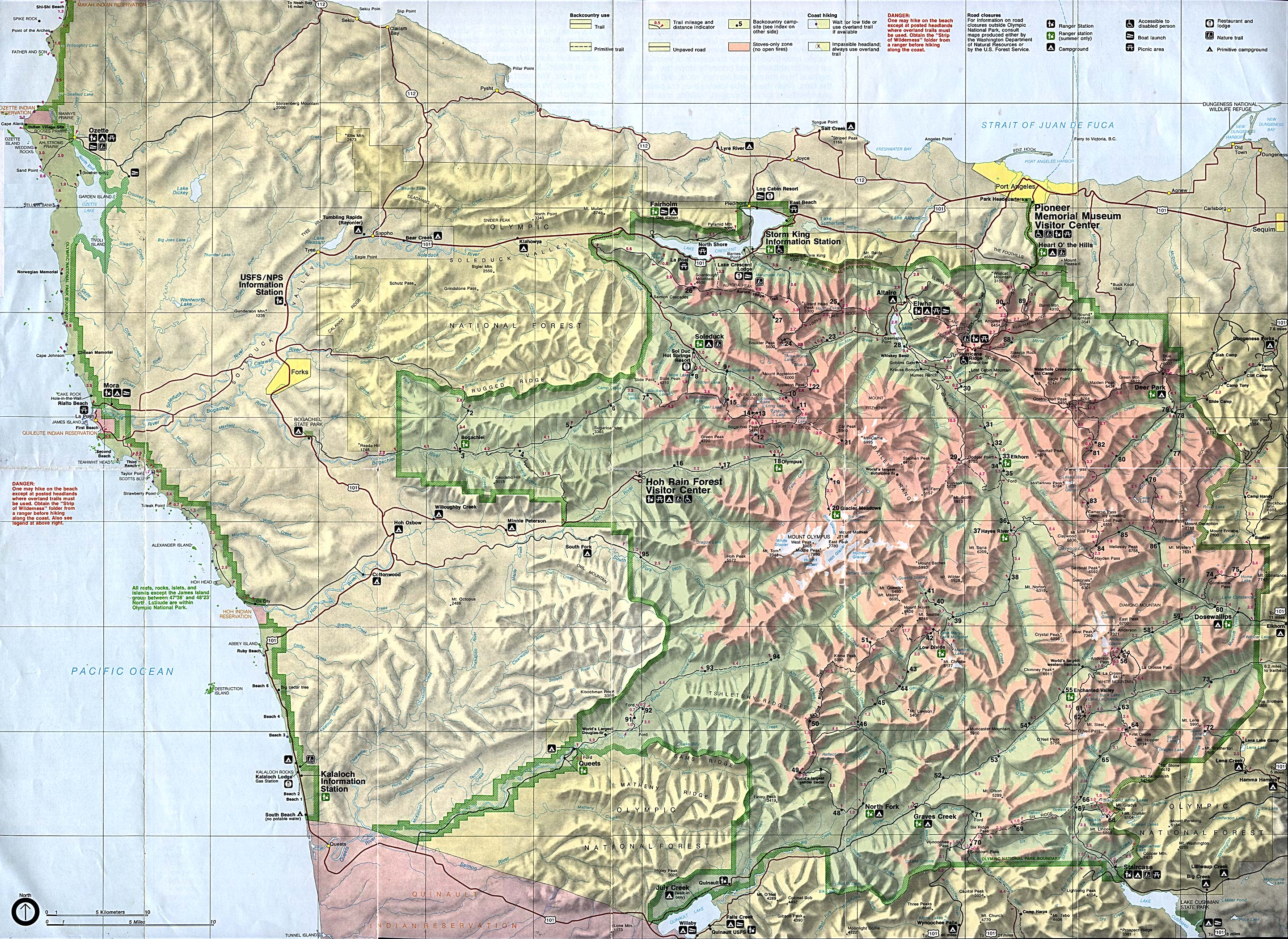 Mapa del Parque Nacional Olympic, Washington, Estados Unidos