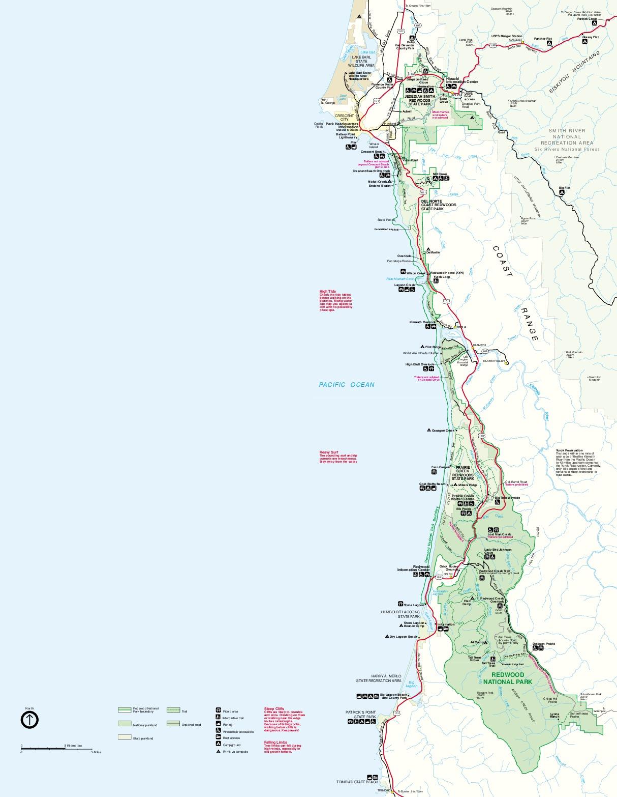 Mapa del Parque Nacional Redwood, California, Estados Unidos