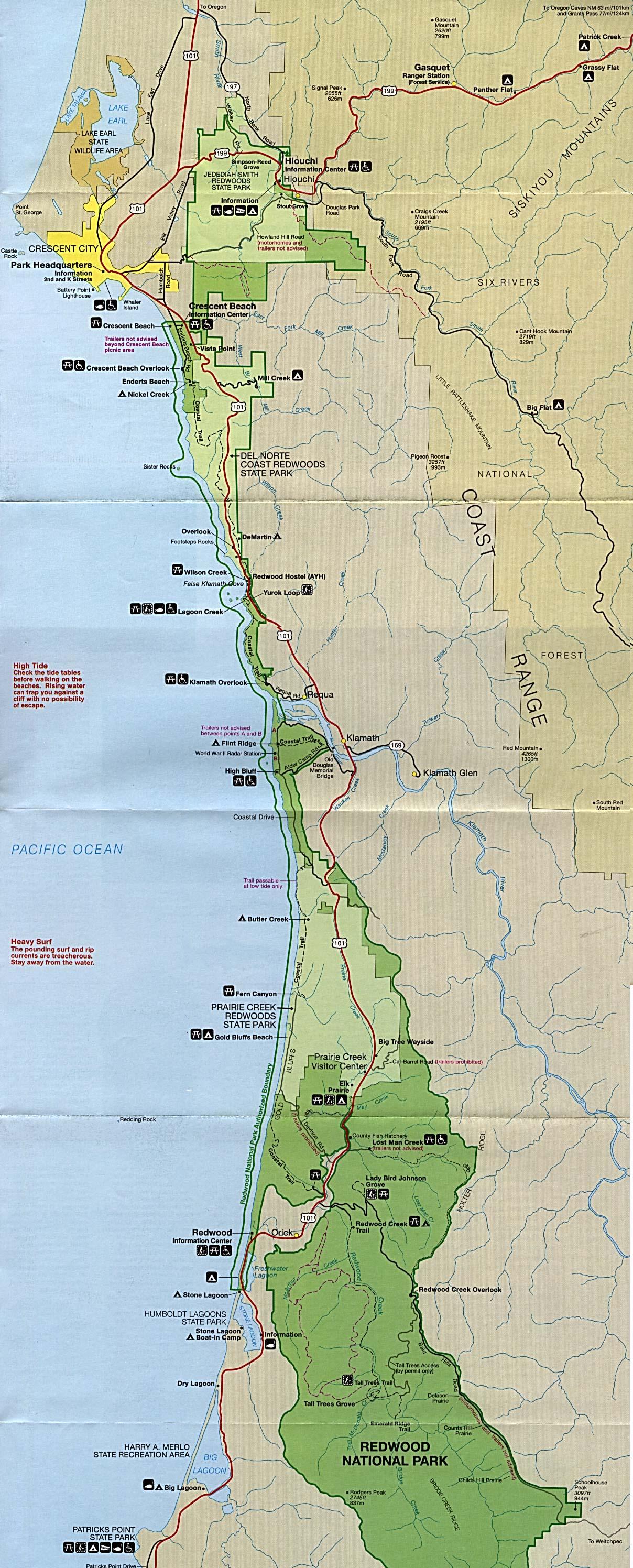 Redwood National Park Map, California, United States