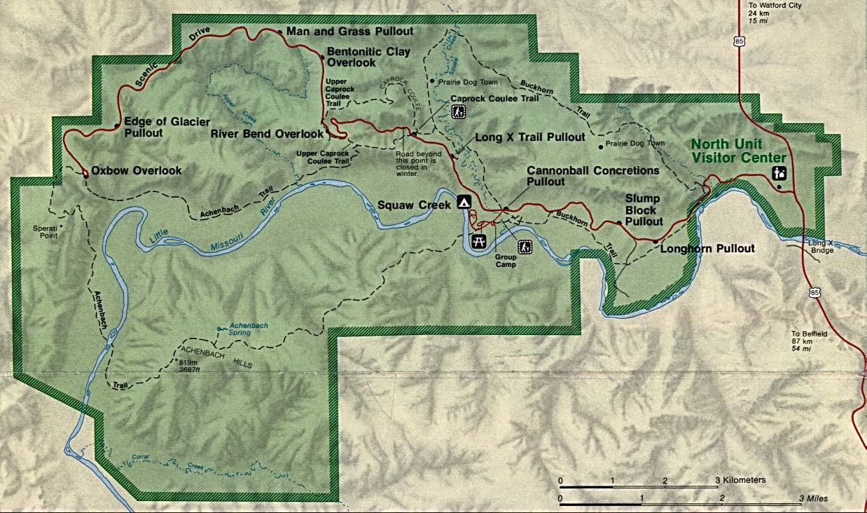 Mapa del Parque Nacional Theodore Roosevelt (Unidad Norte), Dakota del Norte, Estados Unidos