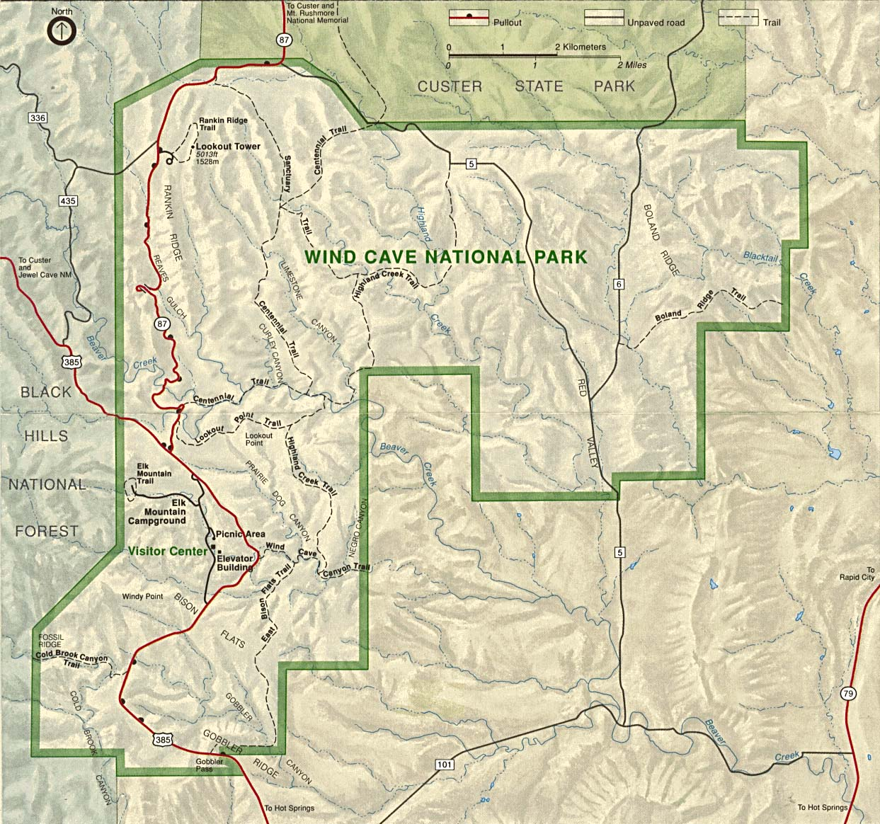 Mapa del Parque Nacional Wind Cave, Dakota del Sur, Estados Unidos