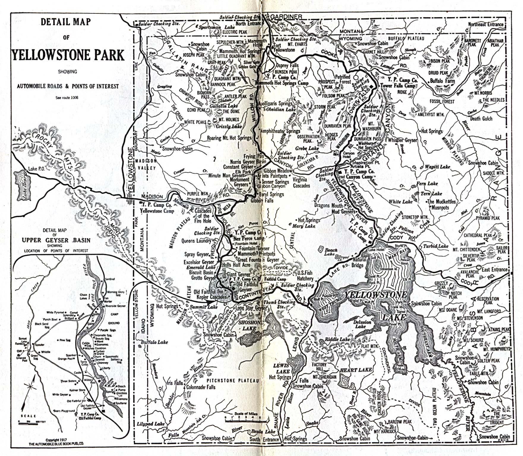 Mapa del Parque Nacional Yellowstone 1917