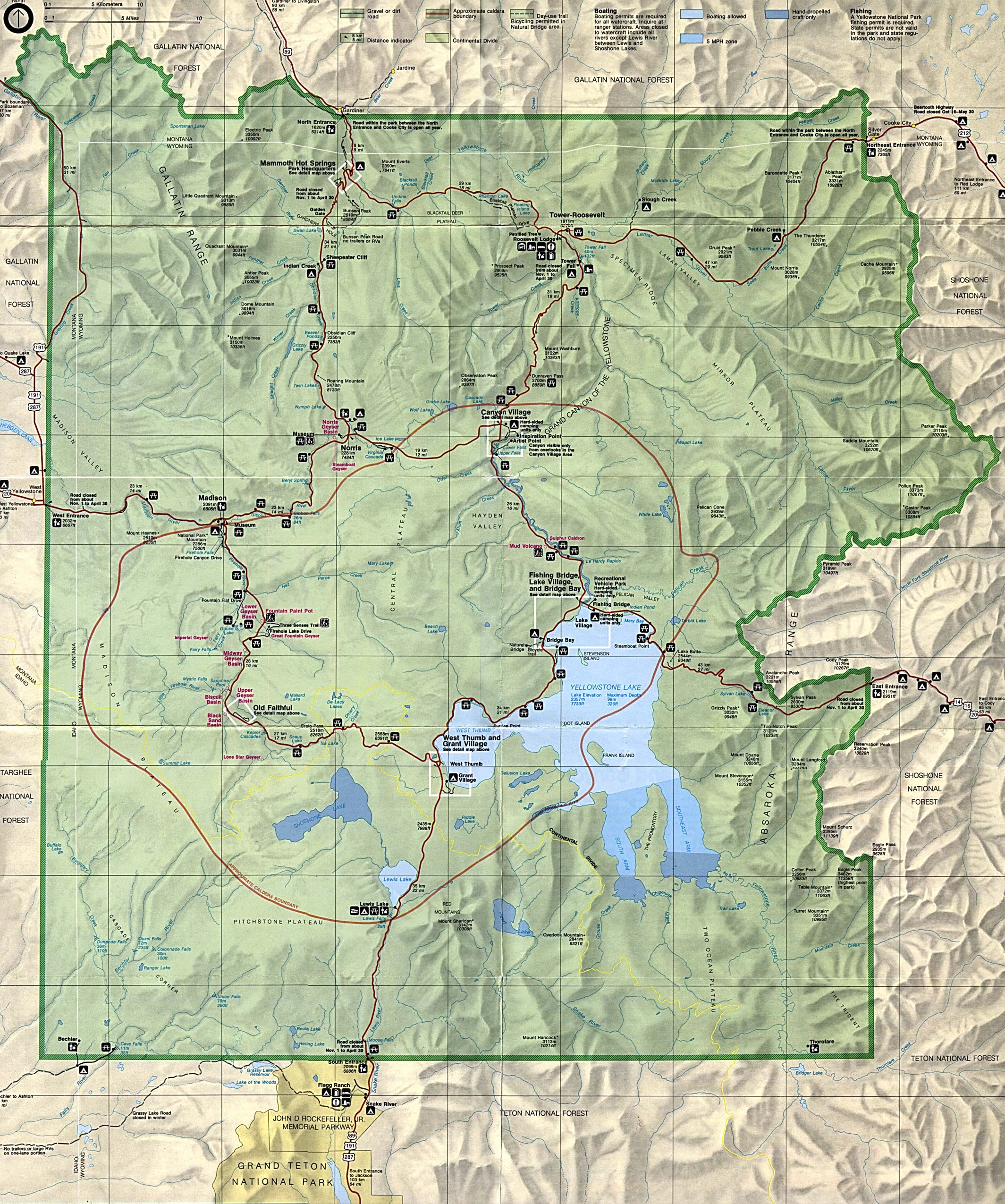 Maps Of Yellowstone National Park Map Wyoming Montana