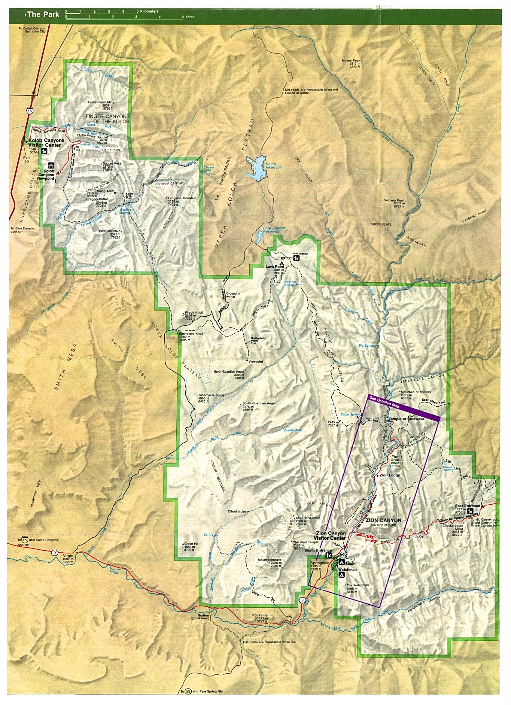 Mapa del Parque Nacional Zion, Utah, Estados Unidos