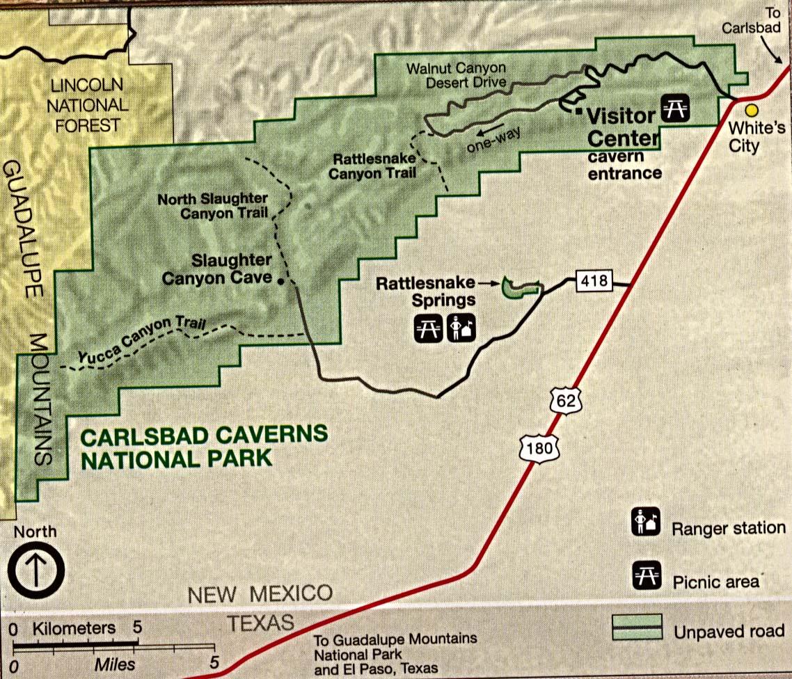 Mapa del Parque Nacional las Cavernas de Carlsbad, Nuevo México, Estados Unidos