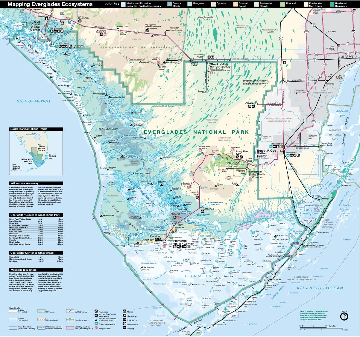 Everglades National Park Map, Florida, United States