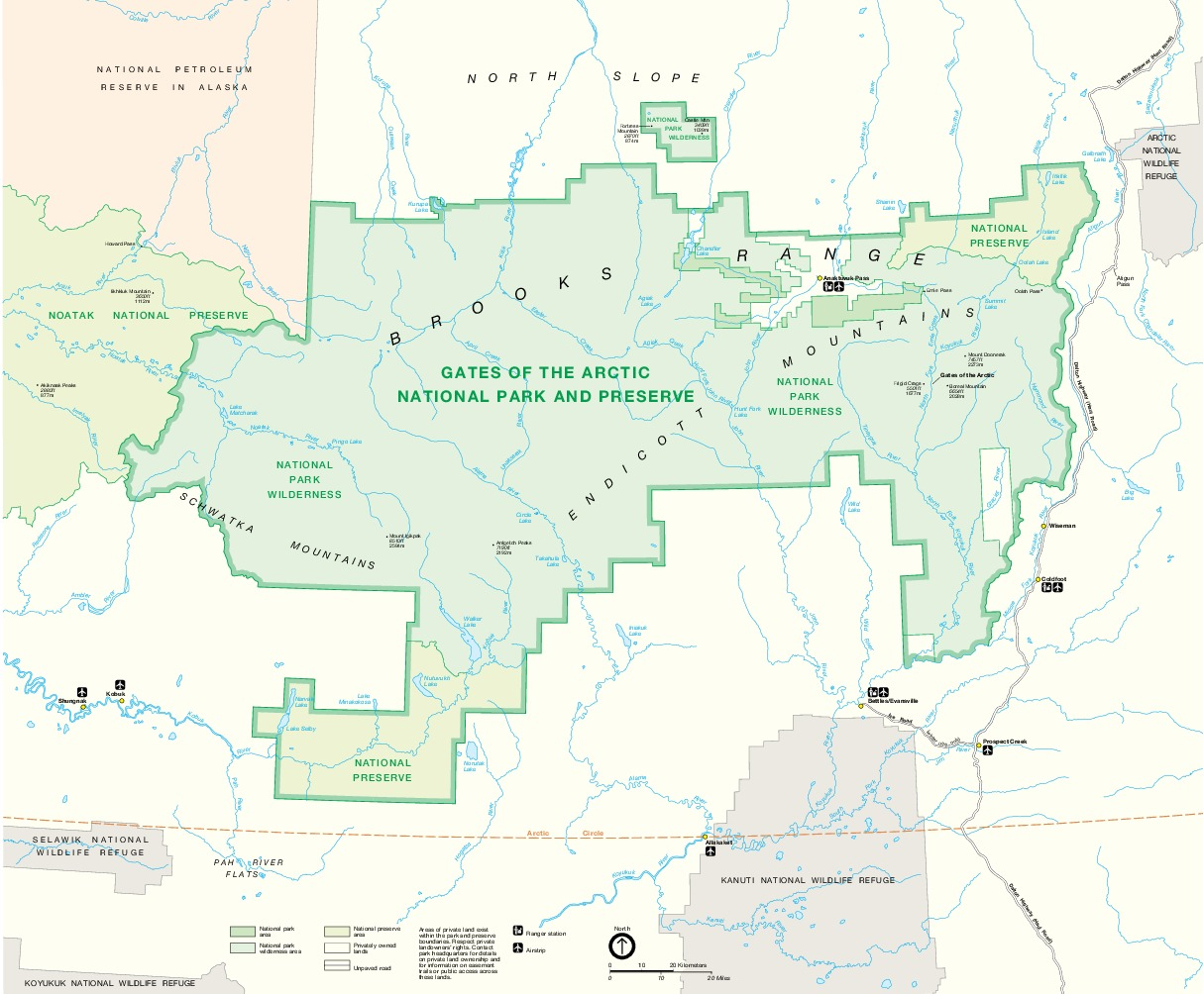 Mapa del Parque Nacional y Reserva Natural Gates of the Arctic en la Cordillera Brooks, Alaska, Estados Unidos