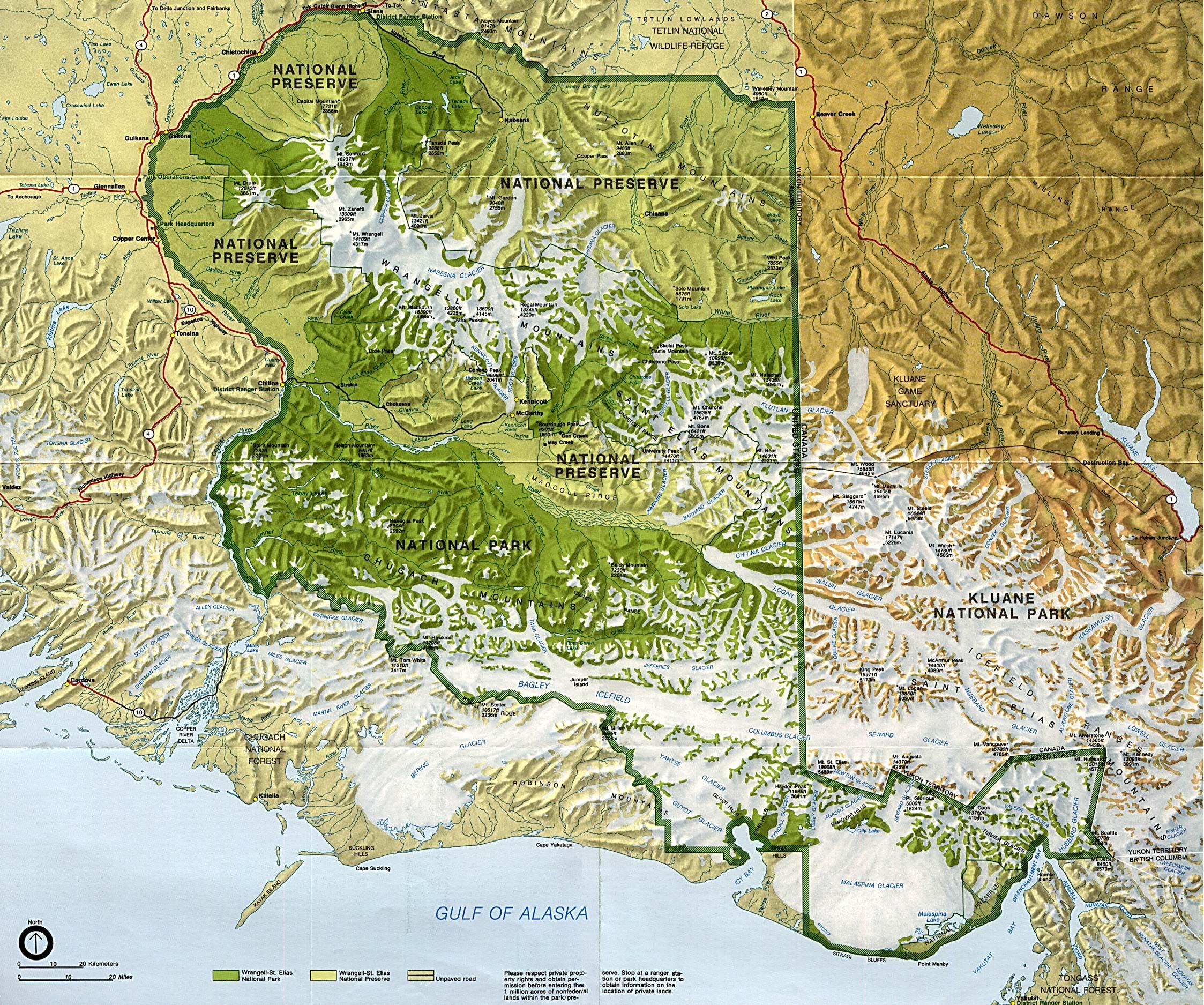 Mapa del Parque Nacional y Reserva Natural Wrangell-St. Elias, Alaska, Estados Unidos