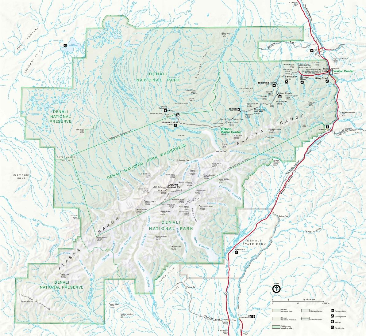 Mapa del Parque Nacional y Reserva Natural de Denali, Alaska, Estados Unidos