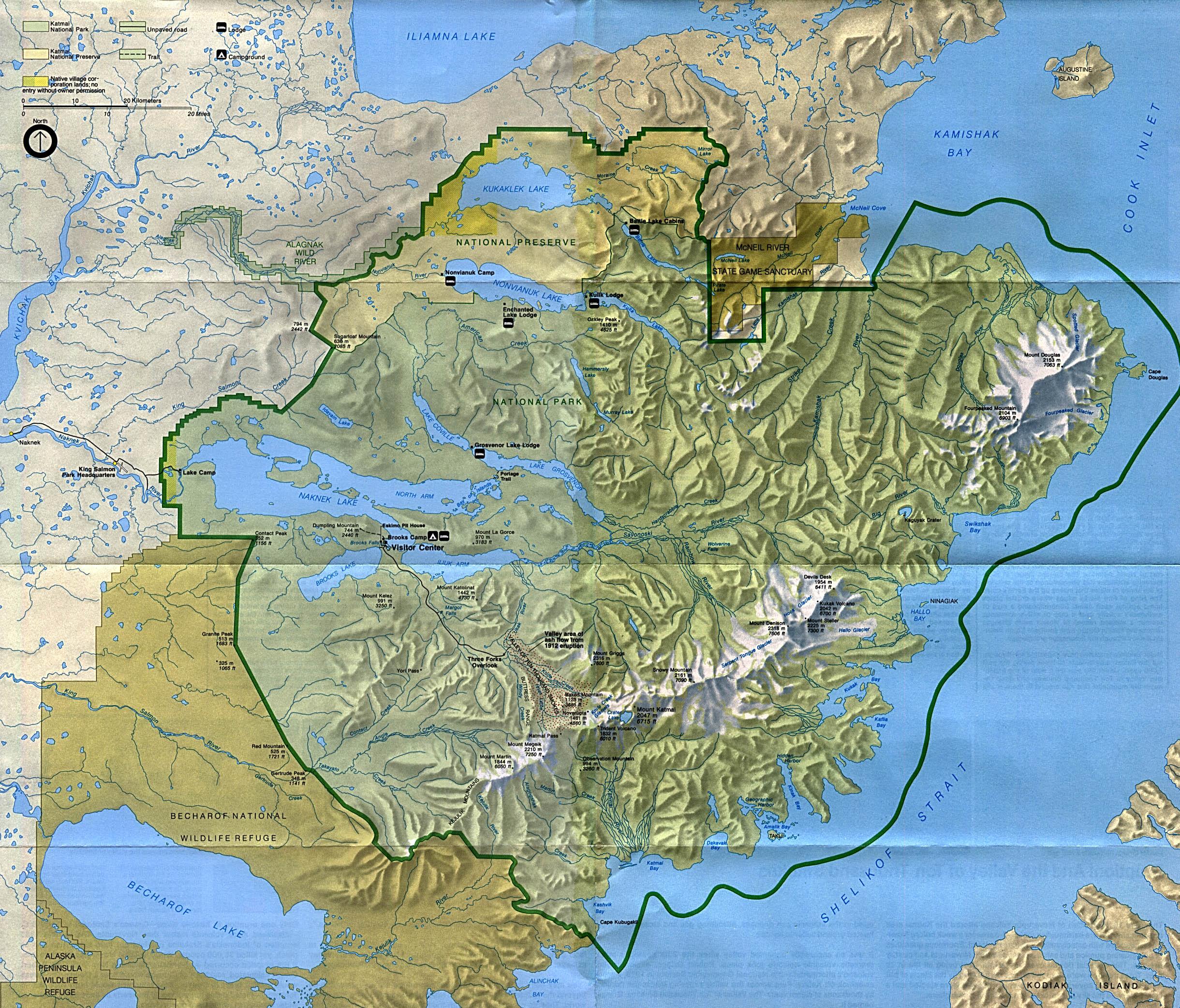 Mapa del Parque Nacional y Reserva Natural de Katmai, Alaska, Estados Unidos